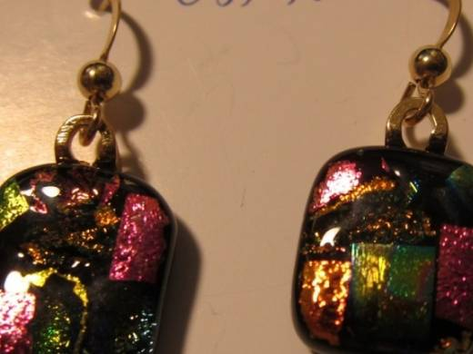 ohgw black with dichroic chips in pink, green and gold