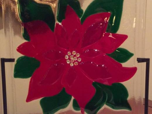 ohgw red poinsettia on clear glass