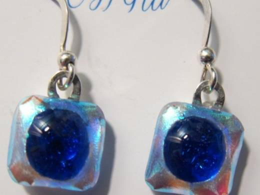 ohgw  solid blue/silver dichroic on clear with cobalt blue cabochon