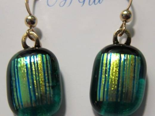 ohgw cathedral teal green with dichroic gold/green fibroid insert