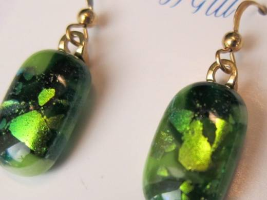 ohgw mixed opaque, cathedral and dichroic green glass
