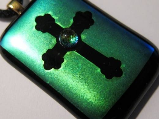 ohgw teal dichroic cross with cabochon